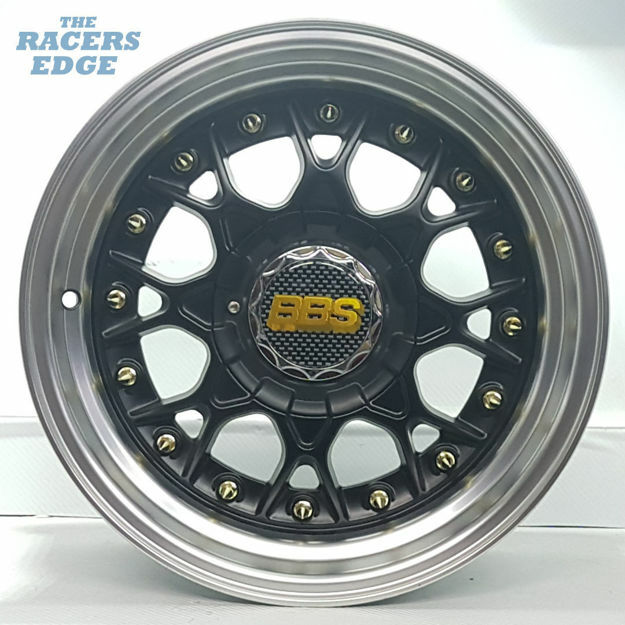Picture of 15 inch BBS ESA Reps - 4x100/108 - Matt Black Gold Studs