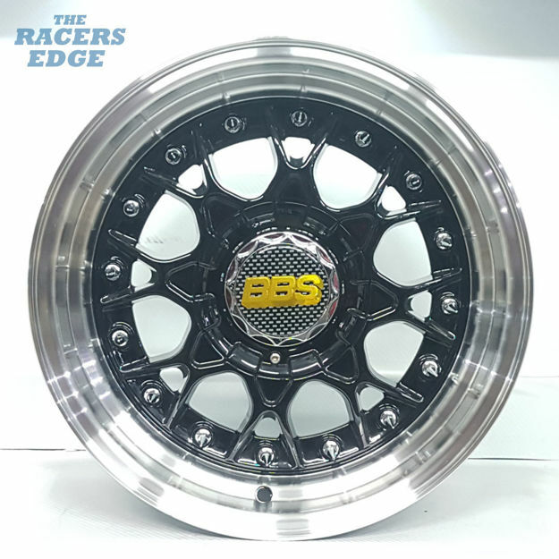 Picture of 15 inch BBS ESA Reps - 4x100/114 - Gloss Black with Chrome Studs