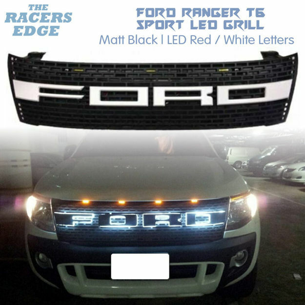 Picture of Ford Ranger T6 Sport LED Grill (2012'-2015) Red/White LED Letters