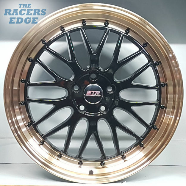 Picture of 20 inch STR Racing - 5x114 - Black w/ Gold